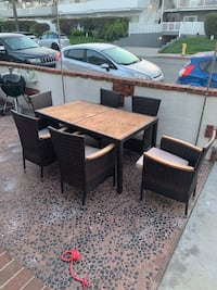Wood and wicker patio set