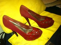 Red High Heels w/ Open-Toed Straps by Shiekh Burbank, 91505