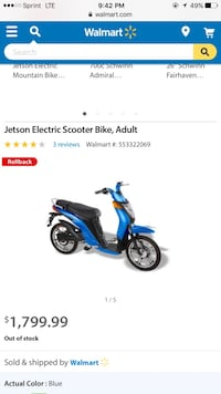 Blue and black motor scooter  Herndon, 20170