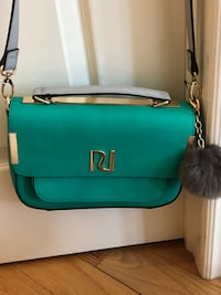 teal and black leather 2-way handbag Markham, L6B