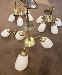 4 light fixtures - brass with frosted white glass  Pakenham, 3810