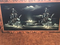 black wooden frame painting of two warships San Angelo, 76901