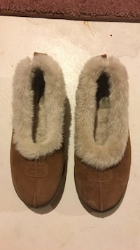Pair of brown-and-white fur slip ons Calgary, T2Y 5A2