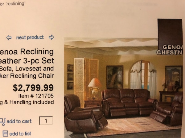 Leather three piece sofa, loveseat and chair  all pieces recline