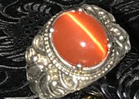 .925 Sterling Silver Angel Ring with Rare Deep Coral Catseye Size 7 Springfield, 22150