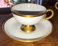 4 cups 1 saucer  white with gold trim. Vintage. 12 dollars each Port Coquitlam, V3B