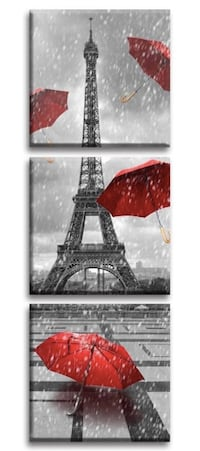 Brand New in Box (12x12inch 3)Paris Eiffel Tower Art Paintings Red Umb