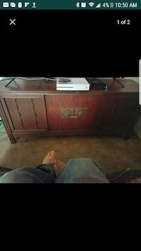 Antique record player inside of stand built in