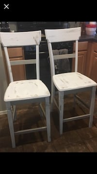 two white wooden bar stools Peoria, 85383