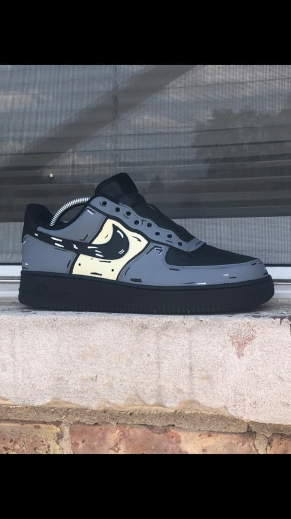 Sold Air Force 1 Black Cartoon Custom Size 8 5 In Stone Park Letgo