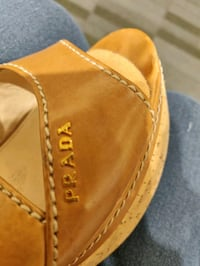 Authentic Prada Tan Cork Wedge shoes size 6.5 in e Surrey, V3T 1P6