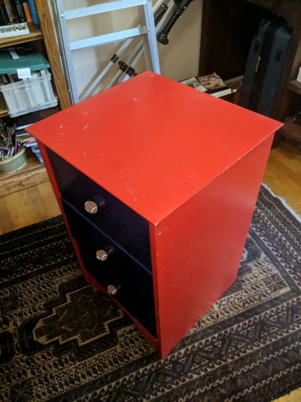 child's blue and red dresser/bedside table   1d2524a5-1653-4433-831d-d61741cc513a