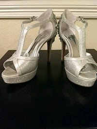 pair of silver leather open-toe platform stilettos Euless, 76039