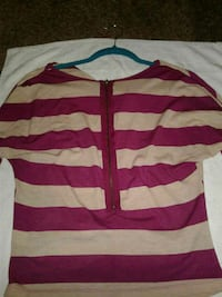 pink and brown striped blouse