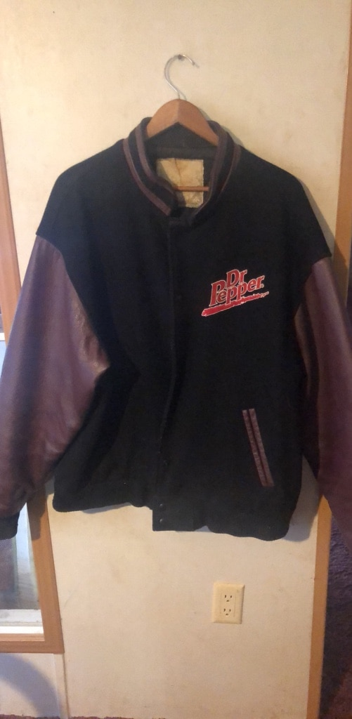 Photo Leather Dr Pepper football jacket.