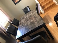 Rectangular brown wooden table with four chairs dining set , N0A