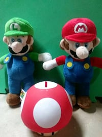 Stffed Mario and Luigi with Mushroom coin bank.