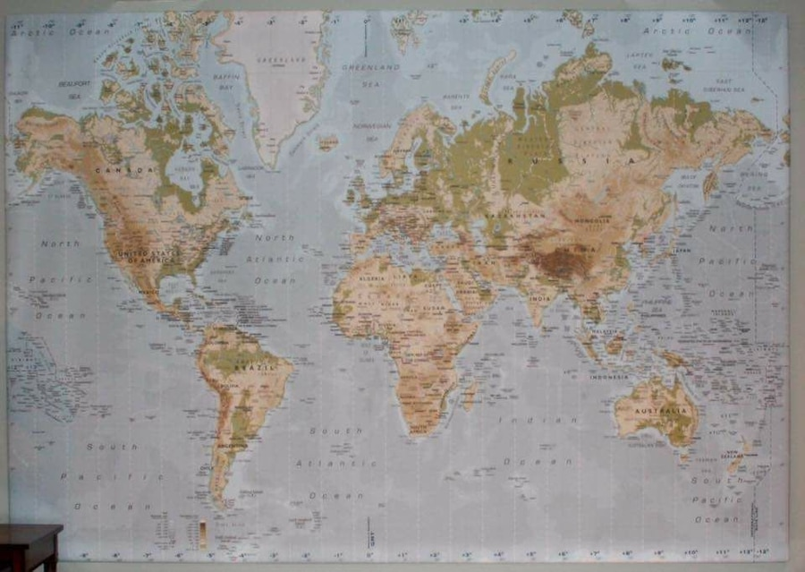 Used ikea premiar world map picture with framecanvas in key biscayne gumiabroncs Images