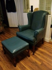 Blue leather chair and foot rest  Schenectady, 12305