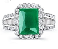 Sterling silver Princess Cut 4.4CT Green Zircon Silver Color Engagement Rings wedding Rings Party Rings Mississauga, L5J 2B9