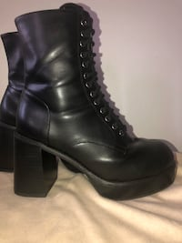 Black Leather Heeled Combat Boots