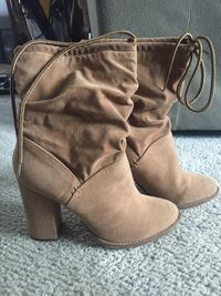 gray suede mid-calf chunky heel boots 3120 km