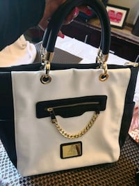 white and black leather tote bag Maroubra, 2035