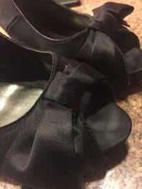 Size 10-black peep-toe satin shoes, black. Kirkland, 98034