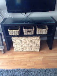 Black and white wooden tv stand New Westminster, V3M 1Y9