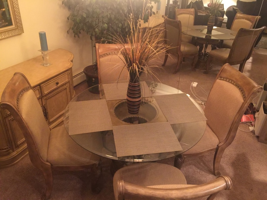 Dining table with chairs and buffet/server table for sale - Palatine