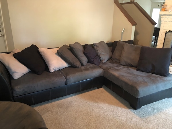 Two Black And Gray Suede Sofa Set