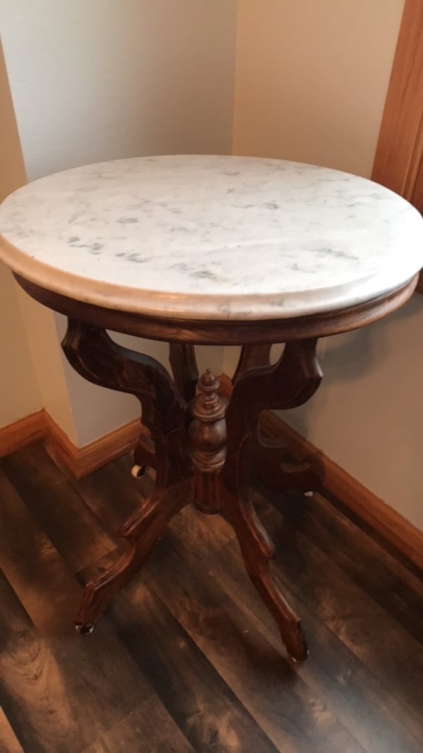 Sold Antique Marble Top Table Heavy