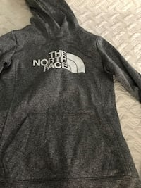 Grey and white the north face pullover hoodie