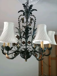 white and black uplight chandelier