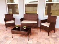 4 Pc All Weather Outdoor Patio Chair & Table Set Garden Pool Furniture FREE Shipping New Orleans