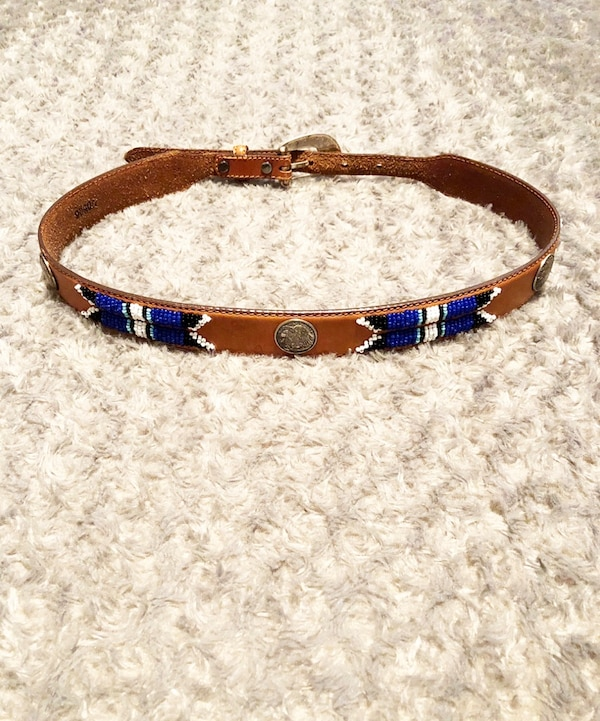 Women's vintage hand beaded leather belt