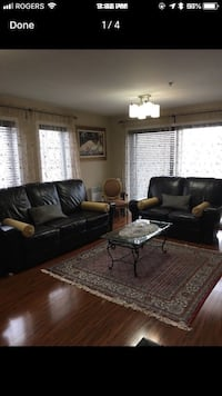 Brown leather 3-seat sofa and loveseat Laval, H7G