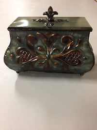 brown and green steel jewelry box