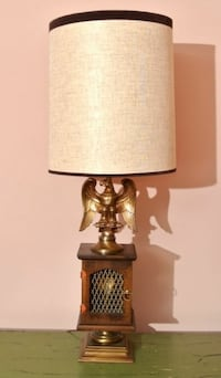 EAGLE TABLE LAMP WITH ELECTRIC FLAME ACCENT