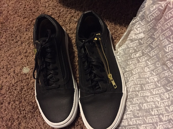 83a0f0e6c3 Vans old skool zip leather black gold womens size 8 bought for 100 selling  for 50