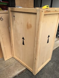 "Shipping crate vault. Solid 3/4"" ply. Edges double. Alexandria, 22312"