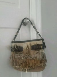 fringed brown and white leather coach handbag Cherry Hill, 08003