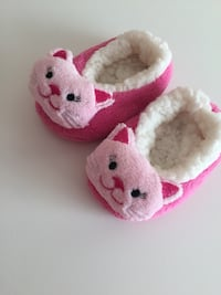 White and pink rabbit plush toy slippers