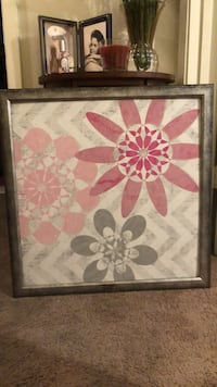 Pink and gray floral painting w/ custom frame Alexandria, 71303