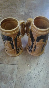 two brown wooden candle holders Barrie