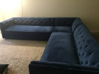 tufted gray suede sectional sofa null