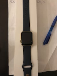 black Apple watch with black sports band Hamilton, L8R