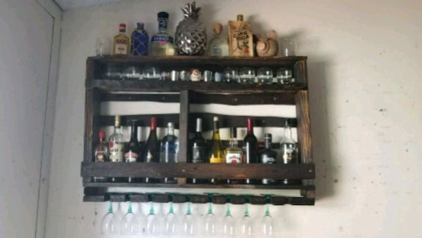 Used Rustic Wood Wall Mounted Wine Rack And Bar 26x40 For Sale In