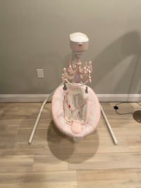 Baby girl swing, bouncy chair and stationary chair bundle
