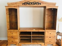 """*PRICE REDUCED BY $50 (was $300)Entertainment center (fits a 42""""+ TV) has storage and glass shelving. 3 years old Anderson"""